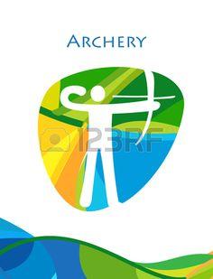 Archery abstract wallpaper. Olympic Games Rio Brazil poster. Archery icon, Rio Brazil