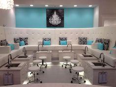 Pedicure Station And White And Aqua Salon Decor And Design Ideas