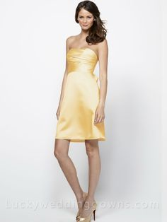 Chic Yellow Satin Strapless Bridesmaid Dress with Empire Waistband