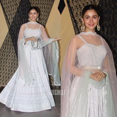 keeps things fuss-free in a white chinkari lehenga-choli at her cousin's reception. ✨ WhatsApp us for Purchase & Inquiry : Buy Best Designer Collection from Lehnga Dress, Lehenga Choli, Alia Bhatt Lehenga, Lehenga White, Sarees, Unique Prom Dresses, Event Dresses, Indian Wedding Outfits, Indian Outfits