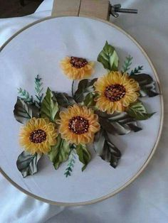 This Pin was discovered by Mua Ribon Embroidery, Ribbon Embroidery Tutorial, Embroidery Kits, Cross Stitch Embroidery, Embroidery Designs, Ribbon Art, Ribbon Crafts, Flower Bag, Brazilian Embroidery