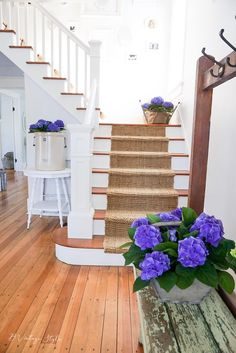 Spring Home Tour Blue Hydrangeas Front Staircase Original Hardwood Floors
