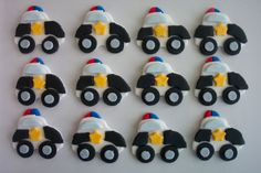 Police Cars Fondant Cupcake or Cookie Toppers Edible. $17.95, via Etsy.