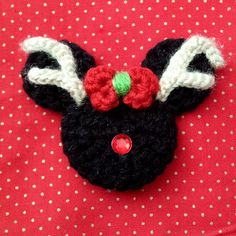 Reindeer Minnie Crochet Hair Clip Ornament or Pin by 918Girl