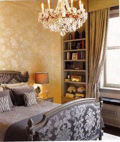 Dream of a Bedroom -   Christopher Hyland Fabric on Bed with Roma Wallcovering