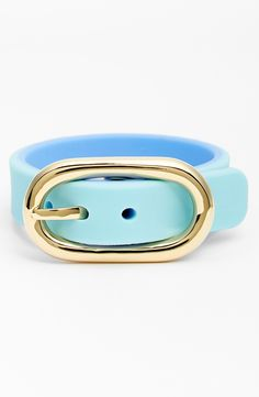 Love the gold buckle on this cute blue Marc Jacobs bracelet.