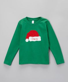 Kelly Green Santa Hat Personalized Tee - Infant, Toddler & Girls by Lollypop Kids Clothing