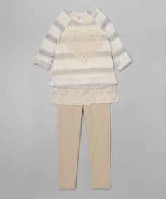 Love this Ivory Heart Tunic & Leggings - Girls on #zulily! #zulilyfinds