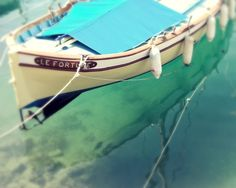 Le Fortune - Fine Art Nautical Photography - wooden boat aquamarine teal blue water mediteranean sea France