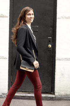 Loved cherry red jeans when they first popped onto the scene? Try the latest iteration in a deeper cranberry.