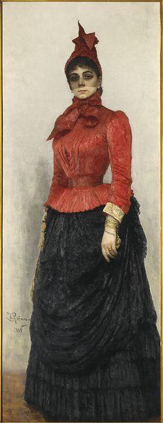 "Ilia Repin: ""Portrait of Baroness Varvara Ikskul von Hildenband"", 1889, oil on canvas,  Tretyakov Gallery - Moscow (Russia)"