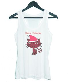 Cat Merry Christmas tank top sleeveless by TuesdayTee on Etsy