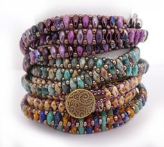 SuperDuo Chain Wrap Bracelet Pattern by Carole Ohl by openseed on Etsy