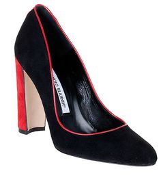 Neurotica suede pump PRE-FALL 2012 Manolo Blahnik  Black and Red Pumps Designer Shoes at ShopSavannahs.com