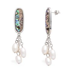 Abalone Shell, Freshwater Pearl Earrings in Stainless Steel TGW 0.002 cts.