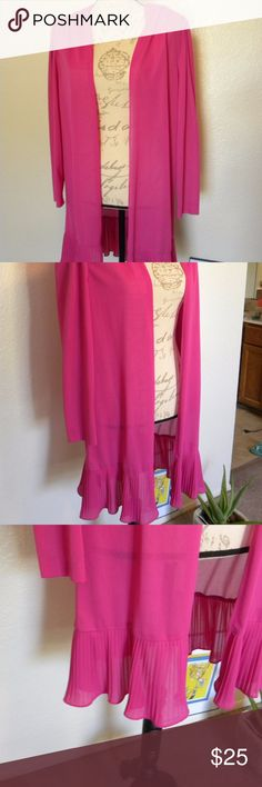 Vintage 80's Good Times Pink Open Tunic 13/14 Vintage 80's  Good Times brand Pink Open Tunic  Long Sleeves,  Ruffles at the End.  With shoulder pads Size 13/14 Good Times Tops Tunics