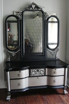 Wow! Victorian Gothic Antique Vanity with Tri-Fold Mirror; Black & Aged Warm Silver