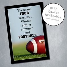$10 Custom Football Poster with Inspirational Quote. Sports Room Decor, Home Decor, Wall Decor. Quote adjustable. Available in any size. Digital File.    Etsy Shop: MeghansView
