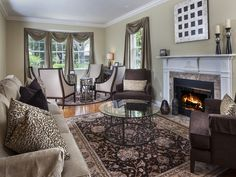 Traditional Living Room - Rug- Fireplace - Neutral - Monterey in North Naples - 7705 Santa Margherita Way, Naples, FL 34109