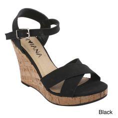 DIVIANA KEALIE-01 Women's Crisscross Wedge Sandals With Buckle Ankle Strap.