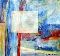 Vinduer 1  Olie på plade  (40x40) 2003 af Svend Christensen