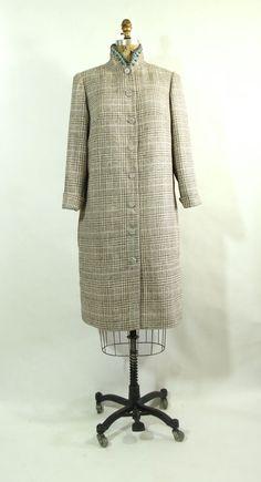 Plaid Silk Coat with Beaded Collar and Jewel by vintagebycassandra