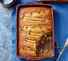 Pecan and banana bourbon self-saucing pudding