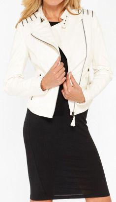 White Moto Jacket <3 want for Christmas .