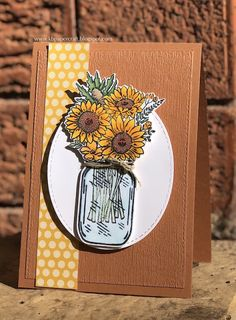 I was sitting at my craft desk yesterday, busy making the card in my previous post, and wondering if my pre-order goodies from the new Diy Halloween, Mason Jar Cards, Mason Jars, Sunflower Cards, Sunflower Images, Stamping Up Cards, Rubber Stamping, Origami, Stampin Up Catalog