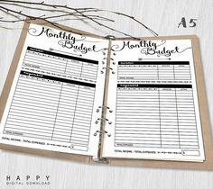 Printable Monthly Budget A5 Monthly Budget von HappyDigitalDownload