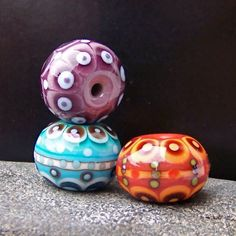 Trio. MruMru Handmade Lampwork Glass Bead set. Focals. Sra. by magdalenaruiz on Etsy https://www.etsy.com/listing/92511458/trio-mrumru-handmade-lampwork-glass-bead