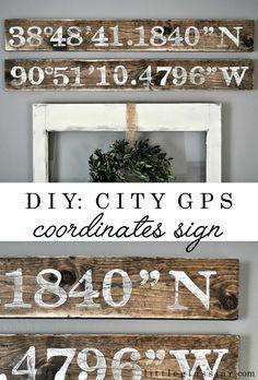 Tutorial for City GPS Coordinates Sign www.littleglassjar.com