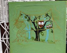 Owl wall art // Baby girl's nursery art // Mint and aqua painting // Original acrylic painting