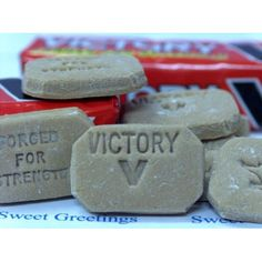 "a firm cold weather favourite ""Victory V Sweets"" they are not the same as they used to be. They originally contained ether and Chloroform, if you ate too many they made you woozy. Old Sweets, Vintage Sweets, Retro Sweets, 1970s Childhood, My Childhood Memories, Sweet Memories, Just In Case, Just For You, The Lone Ranger"