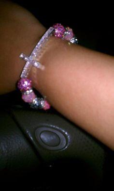 Pink cross bracelet for Breast Cancer Awareness. Breast Cancer Fundraiser, Breast Cancer Walk, Breast Cancer Awareness, Religious Cross, Fundraising, Forget, Bible, Wisdom, Bracelets