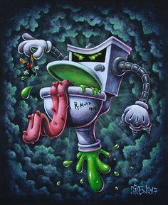 Turbo Toilet 2000 - 26 x 22 cm - Acrylique sur bois - Gilen - 2017 #gilen #lowbrow #popculture #popsurrealism #cartoon #paintings #art #pop #turbotoilet2000 #captainsuperslip #superslip #mickey #mickeymouse #disney #toilet #villains #vilains #gilenbousquet #gilenart