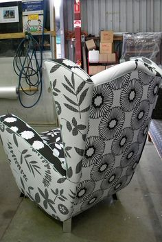 Chair with different black and white fabrics
