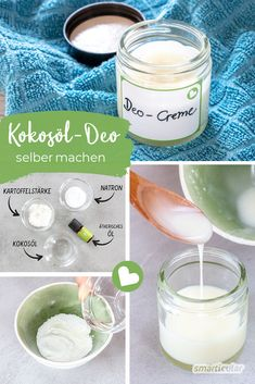 Kokosöl-Deocreme aus drei Zutaten: schnell, wirksam und gesund A deodorant without chemical additives? You can easily make it yourself! In just a few steps, with only three ingredients and free of aluminum, EDTA & Co! Coconut Oil Deodorant, Diy Deodorant, Diy Spa, Diy Skin Care, Natural Cosmetics, Body Butter, Organic Skin Care, Diy Beauty, Healthy