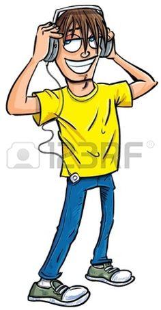 Cartoon teenage boy listening to music on headphones  Isolated