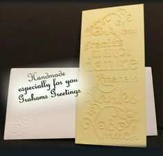 Thank you card with coordinating embossed envelope, opens out to A4 and blank inside for personal message