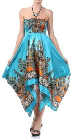 Paisley Print Satin Feel Beaded Halter Smocked Bodice Handkerchief Hem Dress,