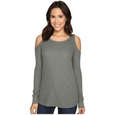 Splendid Thermal Cold Shoulder Top Women's T Shirt ($98) ❤ liked on Polyvore featuring tops, long sleeve open shoulder top, cut-out shoulder tops, splendid tops, long sleeve thermal top and cut out tops