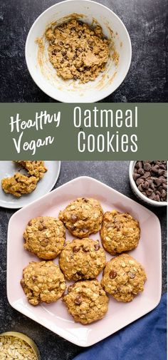 These healthy oatmeal cookies are made with whole wheat flour, applesauce, and oats. They�re just as delicious as your favorite chewy oatmeal cookies, but with healthier ingredients! Try this for a wholesome dessert! Healthy Vegan Cookies, Healthy Oatmeal Recipes, Healthy Oatmeal Cookies, Oatmeal Chocolate Chip Cookies, Easy Cookie Recipes, Delicious Vegan Recipes, Healthy Dessert Recipes, Vegan Snacks, Vegan Desserts