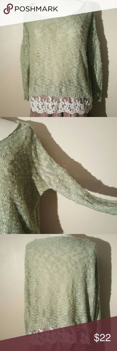 Love by Design Mint Sweater This is a great sweater for layering. White lace along the bottom. Size medium. Normal wear. No trades. Nordstrom Sweaters