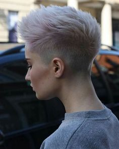 Women's short haircut: selection of some new ideas for a trendy haircut  #haircut #ideas #selection #short #trendy #women Short Hair Cuts Shaved, Shaved Sides Pixie, Short Edgy Hair Cuts, Cool Short Haircuts, Short Short Hair, Women Short Hair, Shaved Hair Women, Pink Short Hair, Short Shaved Hairstyles