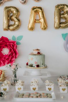 Gold, Mint And Peach Floral Tea Party Themed Baby Shower