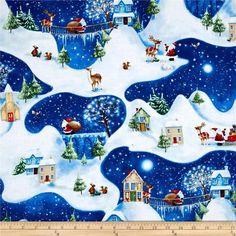"Новогодняя ткань ""Дорога деда мороза"" для тильды, пэчворка"