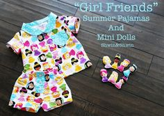 Girlfriends Summer Pajamas & Mini Dolls. Free Pattern, I've sewn figures like these to match pillows & attached them with a ribbon. Sometimes added a pocket to store them in. Wouldn't add ribbons to pj's for safety reasons.