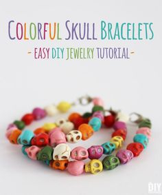 Colorful Skull Bracelets. Learn how to make beautiful bracelets with colorful skull beads. This DIY jewelry tutorial is perfect for beginners. Makes a great Halloween craft! thediydreamer.com