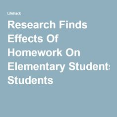 Homework for elementary students